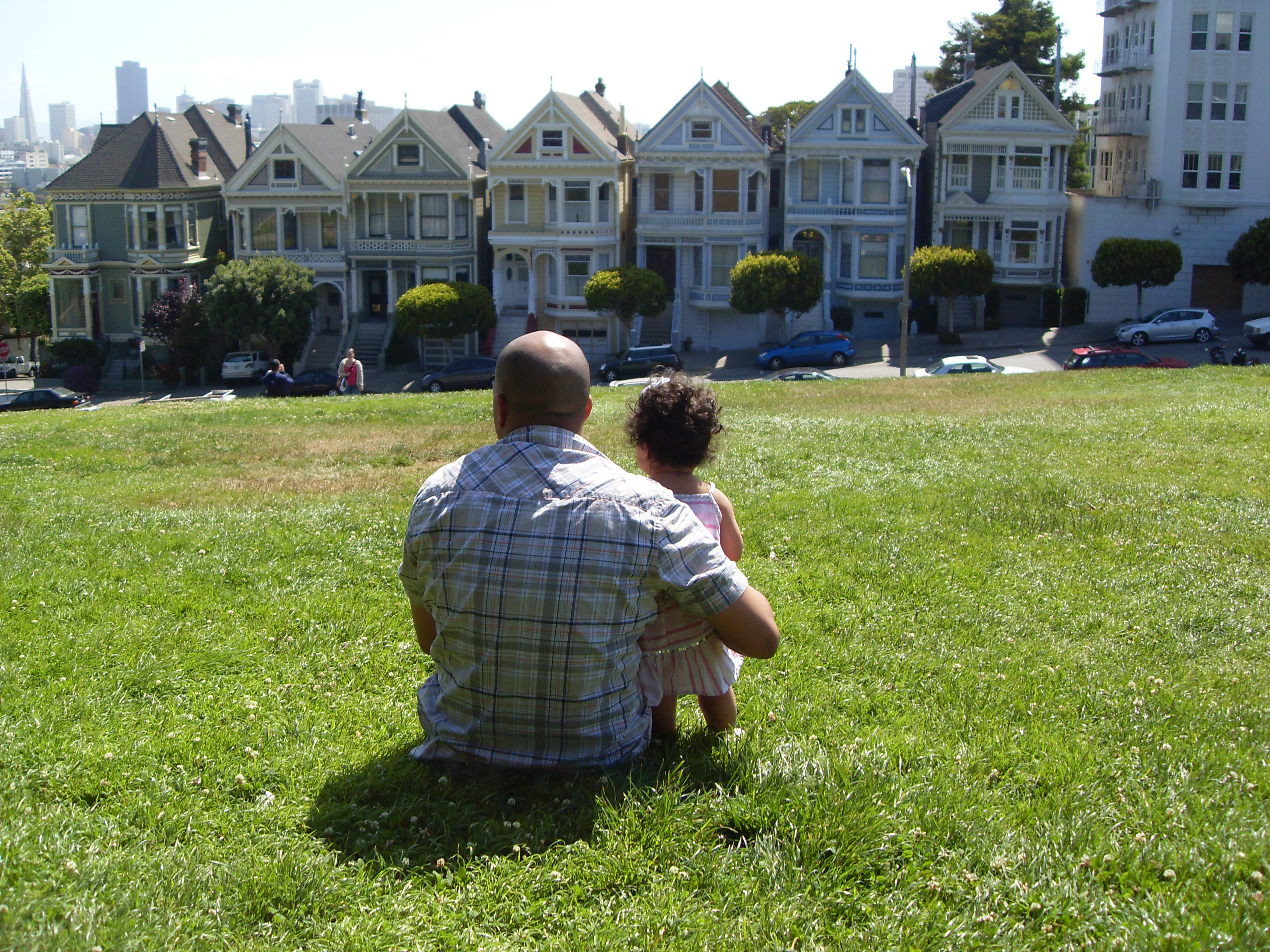 Father and daughter at Alamo Square