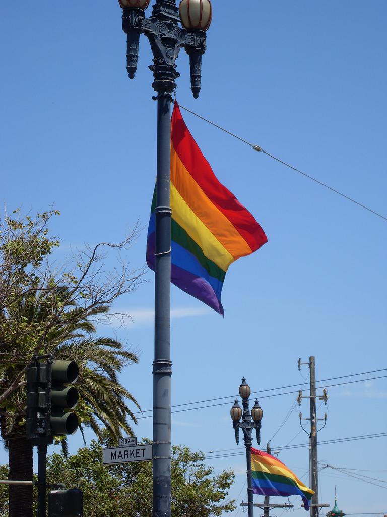 Rainbow flag on Market Street
