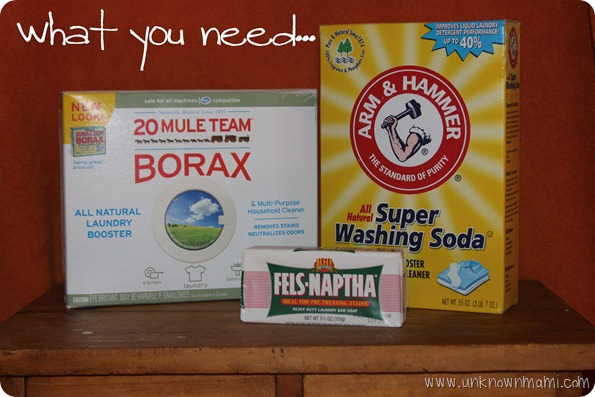 Picture of ingredients that you need for DIY laundry soap.