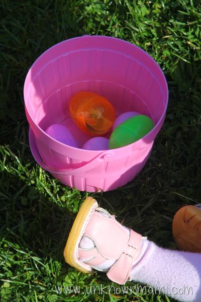 Plastic bucket with eggs