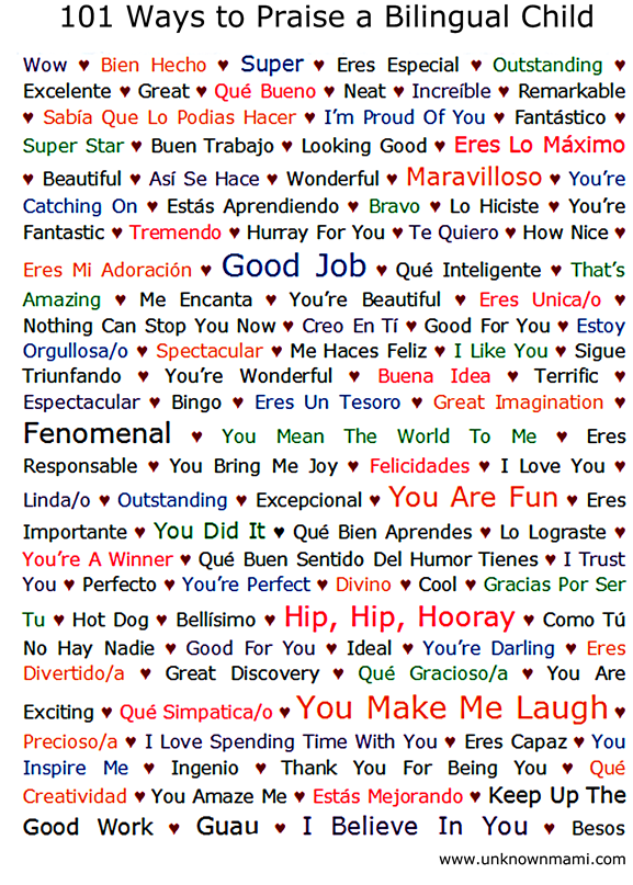 101 Ways to Praise a Bilingual Child