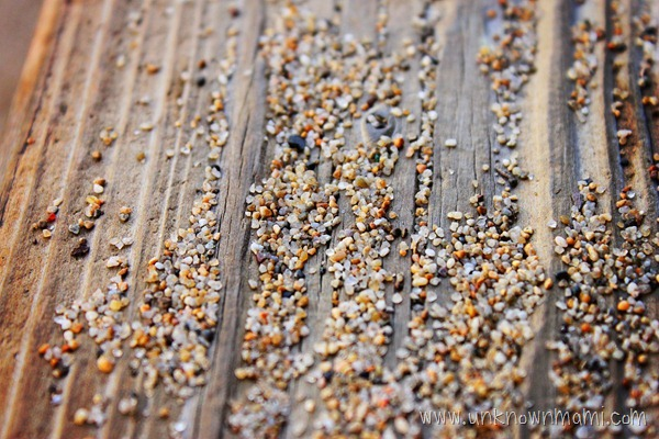 Sand on wood
