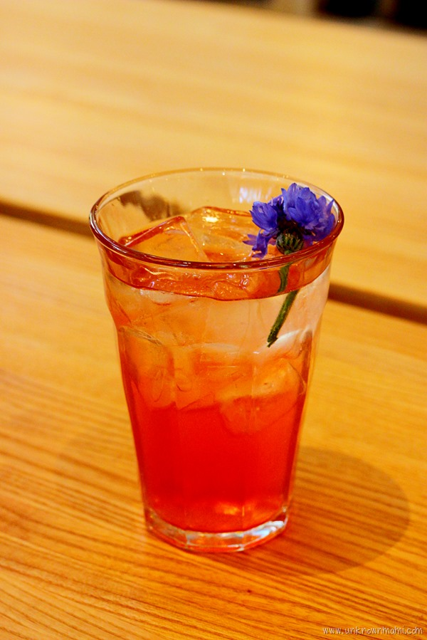 Sparkling strawberry rose vinegar drink