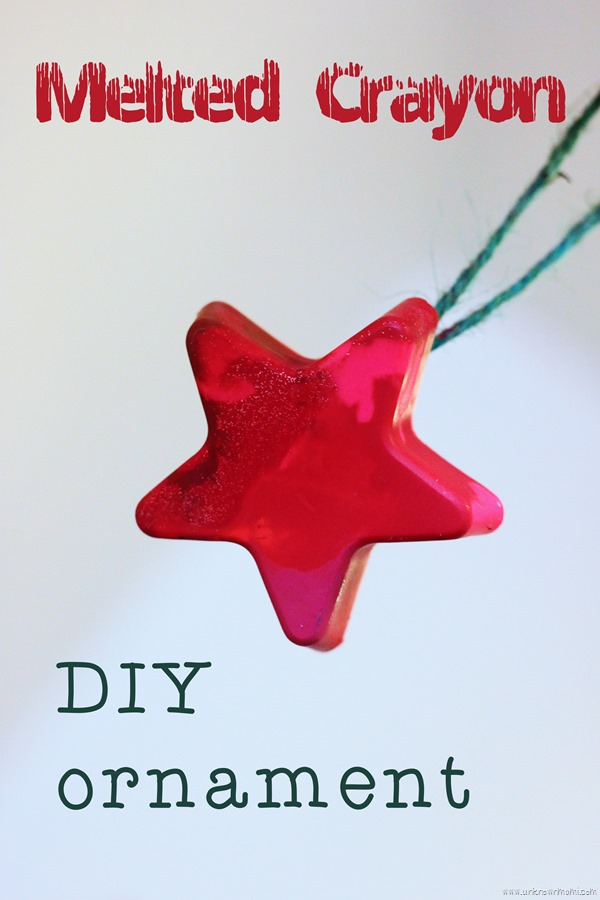 DIY ornament made out of melted crayons