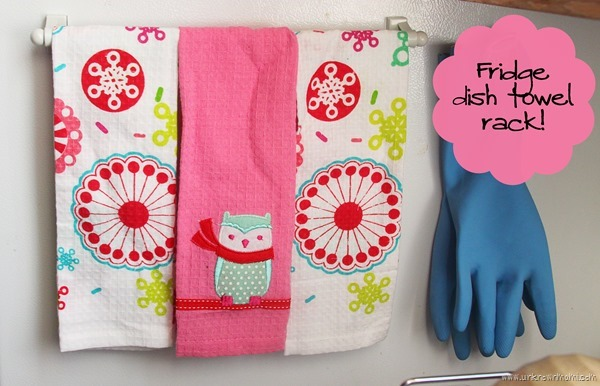 Magnetic dish towel rack for your fridge
