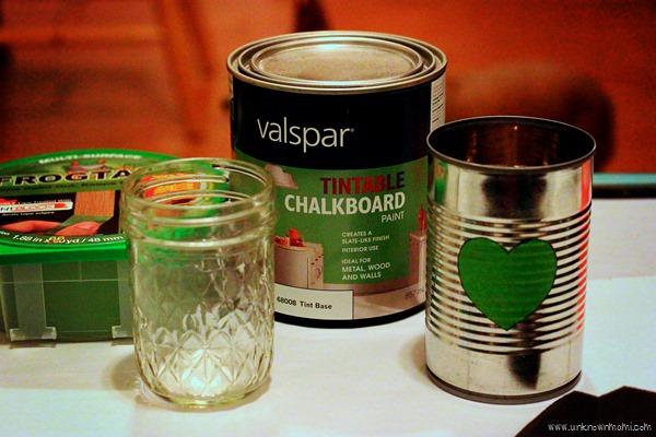 DIY chalkboard vases