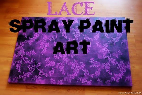 DIY Lace spray paint art