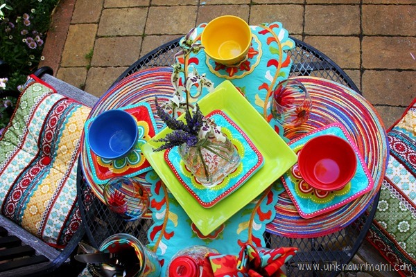 Outdoor table set with bright colors