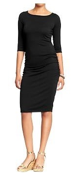 3/4 sleeve jersey dress with side ruching