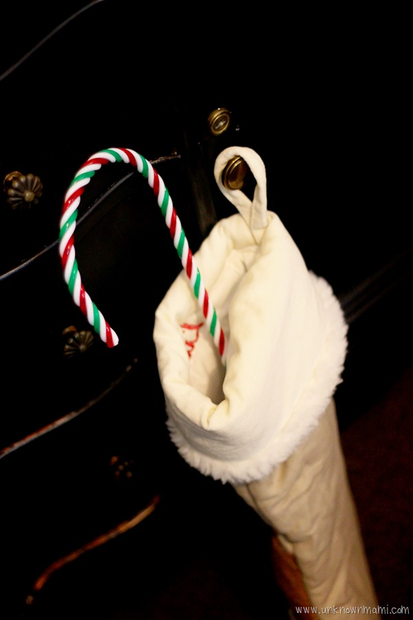 Christmas stocking with candy cane