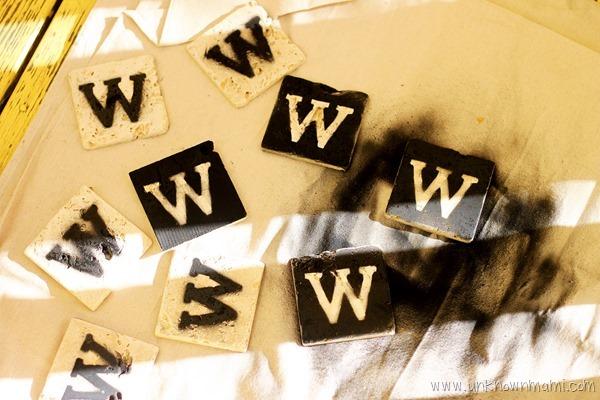 DIY tile coasters with monogram