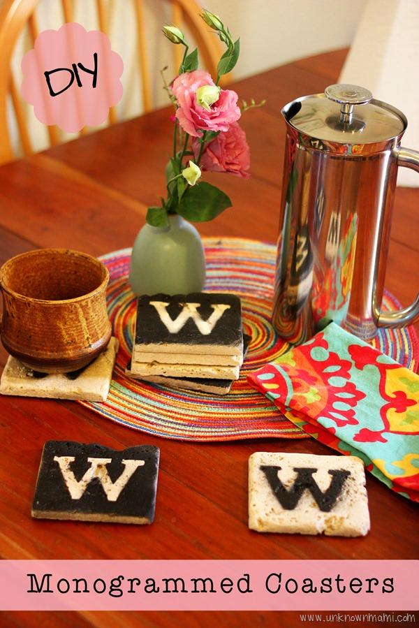 DIY monogrammed tile coasters
