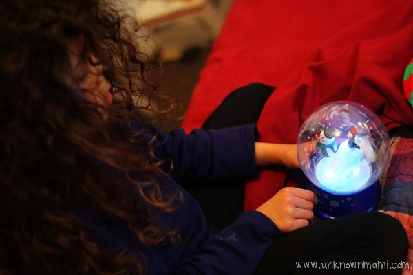 Playing with a snow globe
