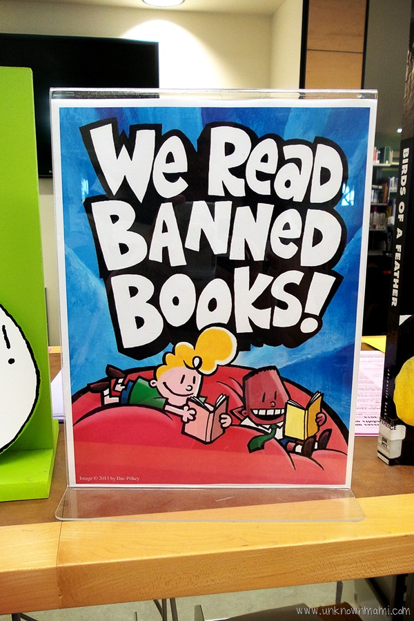 We read banned books sign