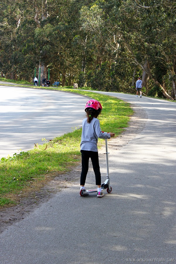 Riding a scooter around Lake Merced