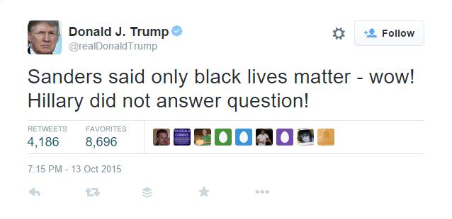 Donald Trumps Tweets During the #DemDebate