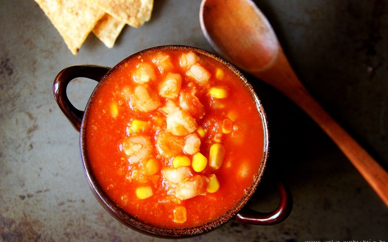 Hominy and Corn Tortilla Soup Slow Cooker Recipe