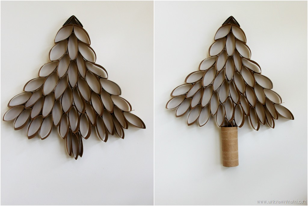 Diy toilet paper roll christmas tree by claudya for How to make a tree out of toilet paper rolls