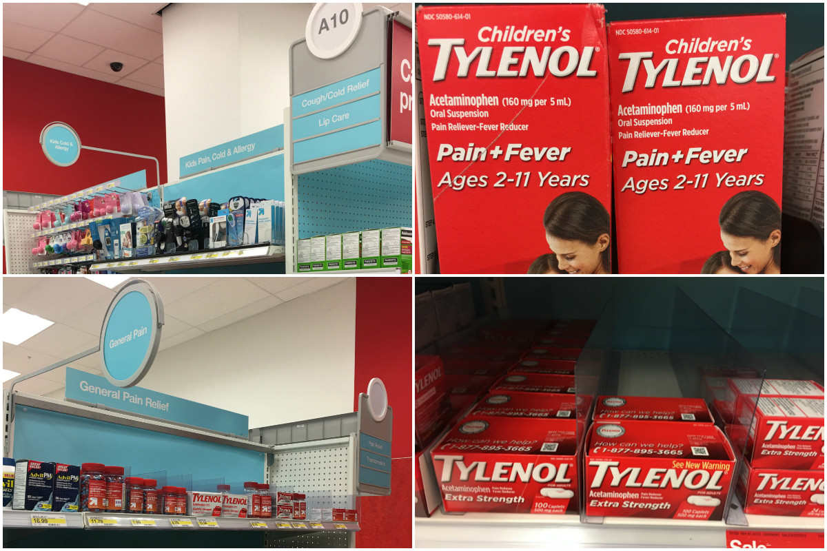 Tylenol products at Target