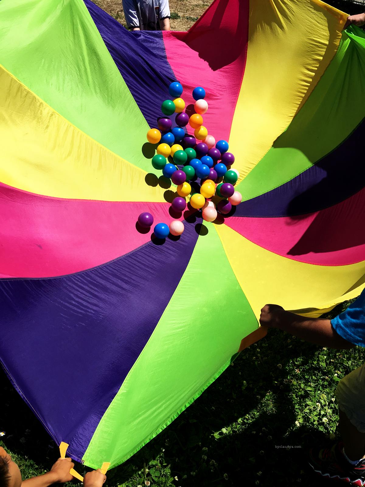 Parachute and balls