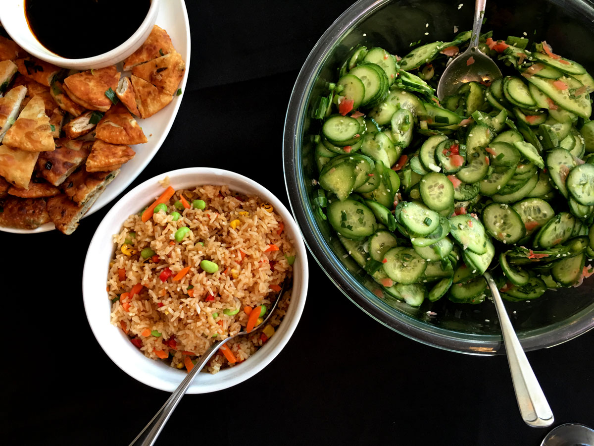 Fried Rice and Cucumber Salad