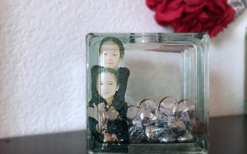 DIY Candy-Filled Glass Block Photo Keepsake