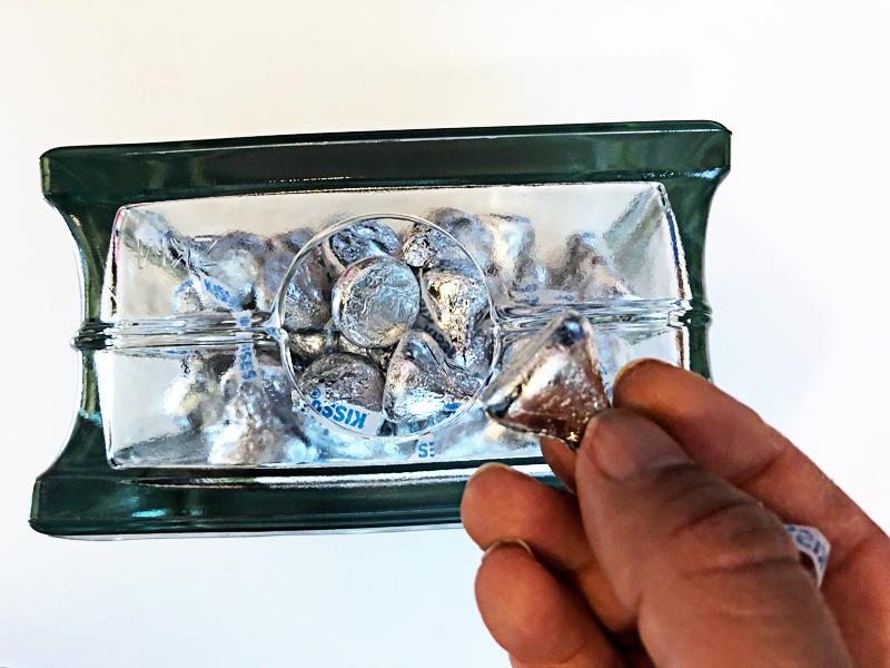 Hershey Kisses in glass block